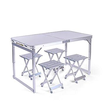 LIW 4 Sillas Conjunto de mesas Plegables Picnic al Aire Libre ...