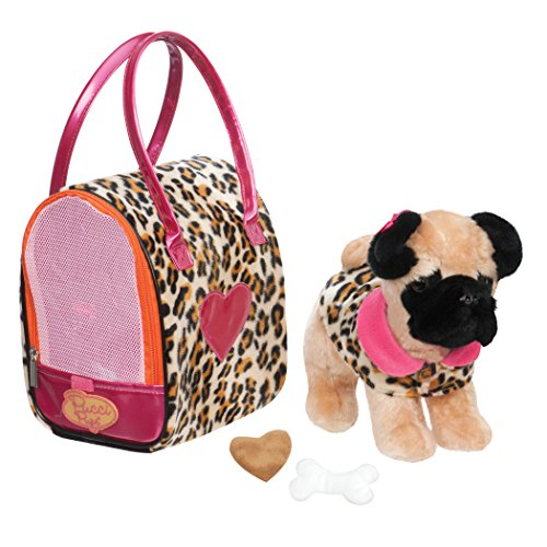 Pucci Pups by Battat ST8345Z Pug & Leopard Print Plush Bag, Plush Dog with Carrying Bag (Pack of 5) (Dog Pug Toy)