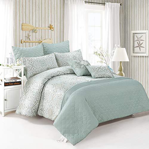 (COMO DESIGN King Comforter Set 7pc Jacquard with Microfiber 1 Comforter 2 Euro Sham 2 Dec Pillow 2 Sham Embrodiery Pintuck Embossed Mint)
