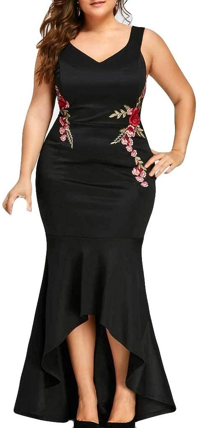 Lulupi Abendkleid Lang Schwarz Damen Lang Unregelmäßiges Kleid