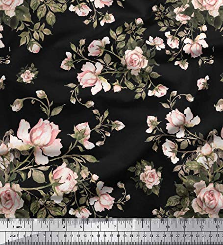 Floral Upholstery - Soimoi Black Heavy Canvas Fabric Leaves & Rose Floral Print Fabric by The Yard 58 Inch Wide