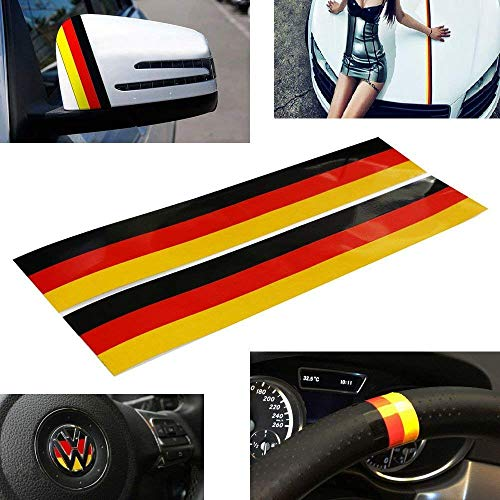 iJDMTOY (2 Germany Flag Color Stripe Decal Sticker for Euro Car Audi BMW Mini Mercedes Porsche Volkswagen Exterior or Interior Decoration (Jdm Euro Stickers Decal)