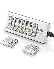 EBL batteriladdare – för AA AAA NI-MH NI-CD-batterier, 8 kontakters LED-batteriladdare inkl. 16 x 1 100 mAh AAA batteri