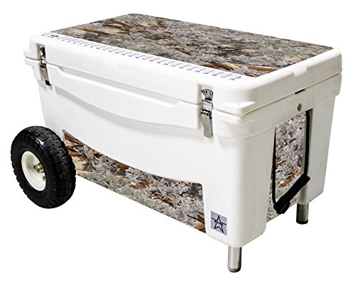 Frio Ice Chests 65Qt Extreme Wheeled White Hard Side with King's Camo Desert Theme Vinyl Wrap and Built-in Motion Sensitive Light Bar with Bottle Openers by Frio Ice Chests