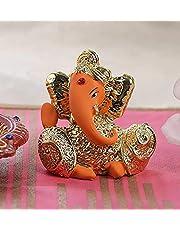 TIED RIBBONS Silver Plated Ganesha Idol Figurine Murti Statue - Ganpati Idol for Home Decor car Dashboard