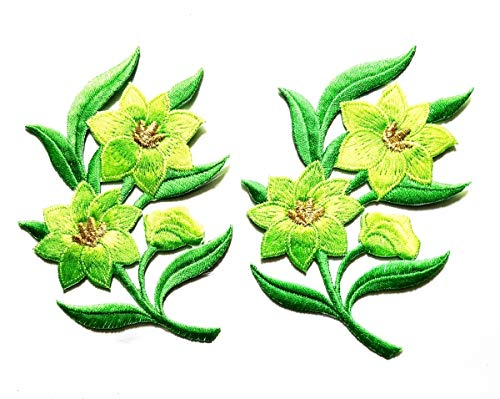 Green Jasmine Pair Flowers Floral Bouquet Beautiful Embroidery Applique Patch Beautiful Flowers Patch for Bags Jackets Jeans Clothes or Gift (Green Jasmine Flowers)