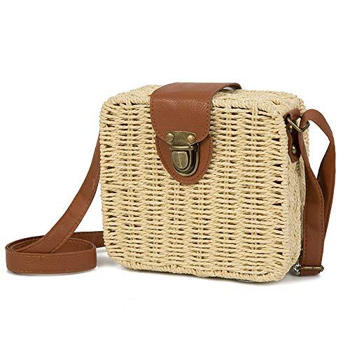 Beach Bags Straw Circle Straw Women Women Beige Messenger Bags Bags Shoulder Square Dunnomart Handbag Rattan cvB8W17
