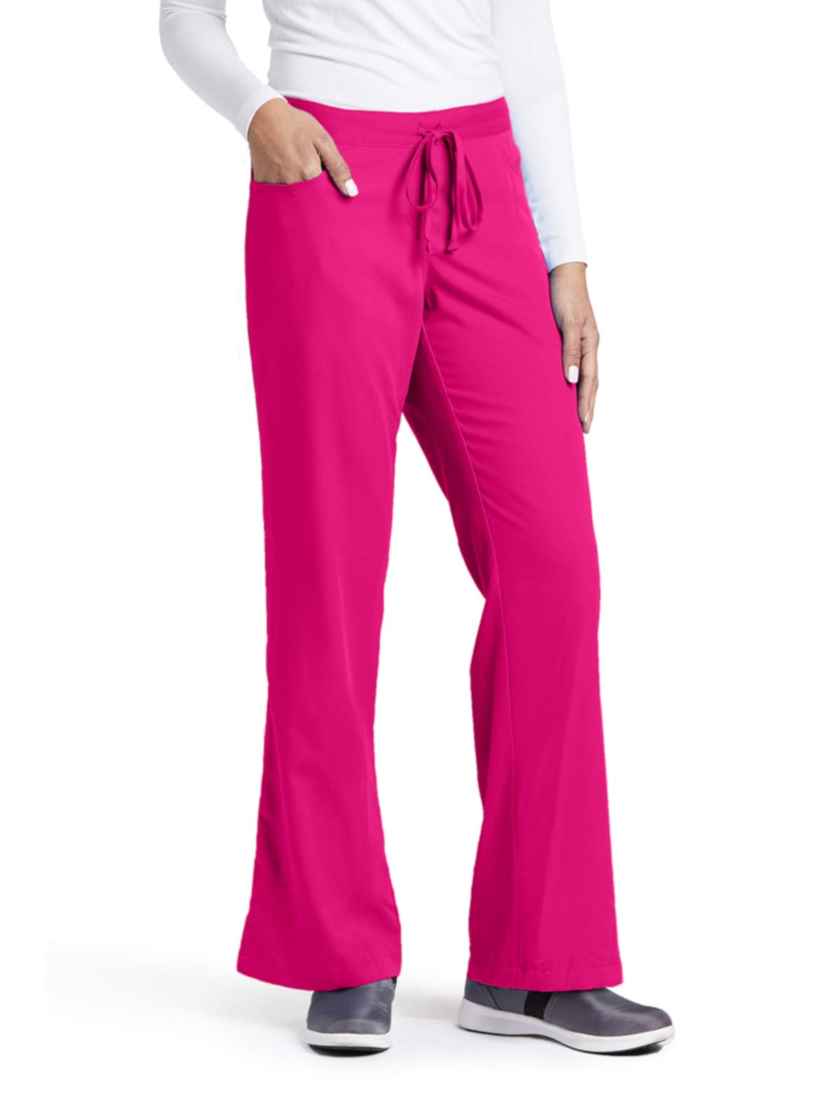 Grey's Anatomy 4232 Tie Front Pant Raspberry Tart S Tall by Barco