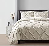 4 Piece Taupe Pintuck Comforter Queen Set, Light Brown Adult Bedding Master Bedroom Stylish Solid Color Pattern Puckered Diamond Design Geometric Tufted Elegant French Country Traditional, Polyester
