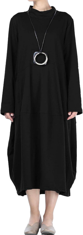 Mallimoda Femme Robe Longue Ample Automne Tunique avec Poches