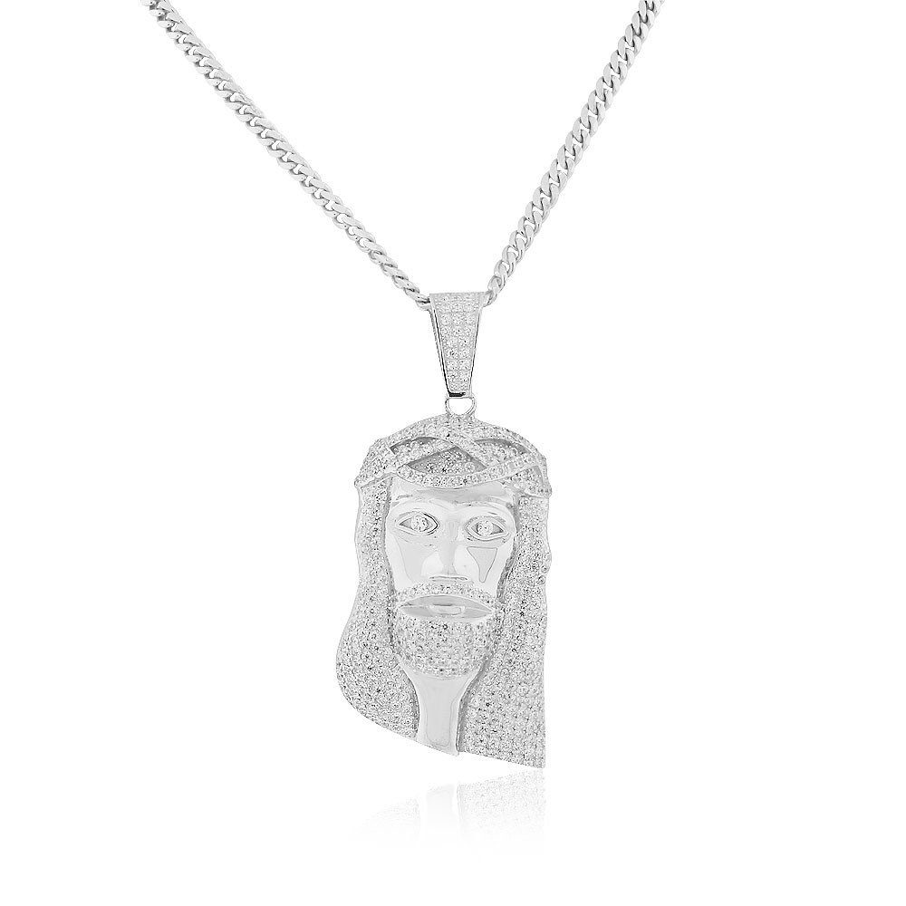 925 Sterling Silver White Clear CZ Large Statement Hip-Hop Jesus Religious Pendant Necklace, 30''