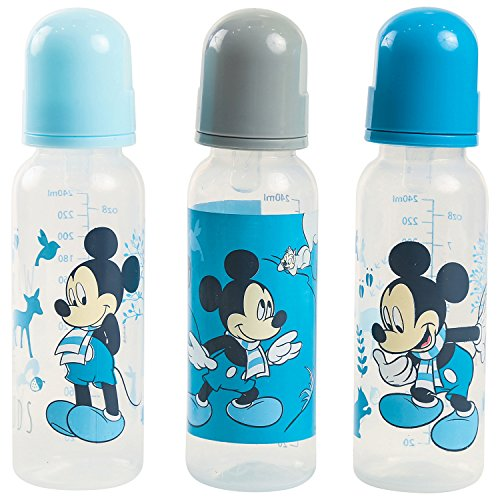 Disney Mickey Mouse 3 Pack 9 Ounce Baby Bottles, Woods Print
