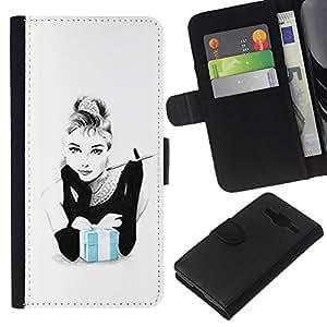 KLONGSHOP // Tirón de la caja Cartera de cuero con ranuras para tarjetas - Fumar Mujer Movie Star Actriz - Samsung Galaxy Core Prime //