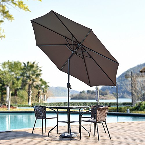 Snail 9 feet Aluminum Patio Umbrella Sun ray Protection Fade Resistant Outdoor Market Umbrella with Push Button Tilt, 8 Ribs, 4 Colors (Chocolate) ()