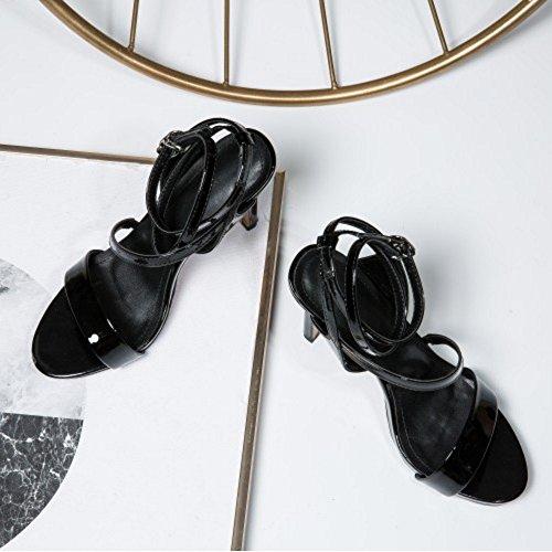 5cm Absatz mit Sandalen COOLCEPT Damen 7 GladiaToe Black 6qIn07xt