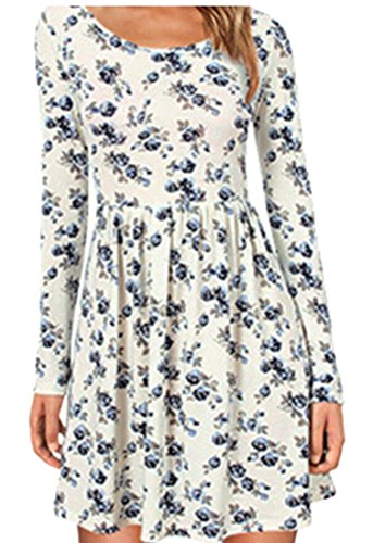 Jaycargogo Imprimé Floral Col Rond Manches Longues Femmes Plissé Robes Décontractées Bleu