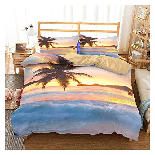 Ocean Duvet Cover Set King Size, Tropical Island with The Palm Trees and Sea Beach Nature Theme Print, A Decorative 3 Piece Bedding Set with 2 Pillow Shams, Turquoise Blue