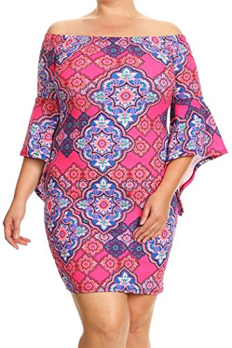 Womens Plus Size Print,Short Dress With Off The Shoulder Sleeves MADE IN USA – 1X Plus, Hot Pink-Royal Blue Abstract Print