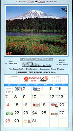 Elm City Filling Stations Gas Oil New Haven CT advertising calendar 1968
