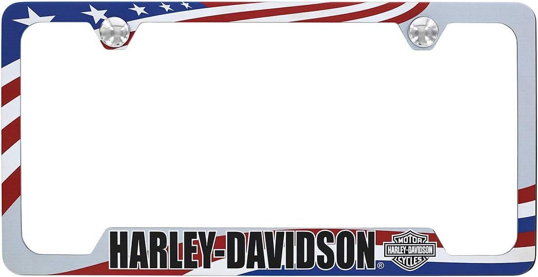 Harley-Davidson U.S.A Flag Patriotic Theme Wordmark UV Printed Gray Coated License Frame Holder 2 Hole