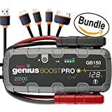 NOCO Genius Boost Pro GB150 4000 Amp 12V UltraSafe Lithium Jump Starter & USB Cable, 4 in 1 Multi-Functional Universal USB Charger Cable Adapter Connector (Bundle)