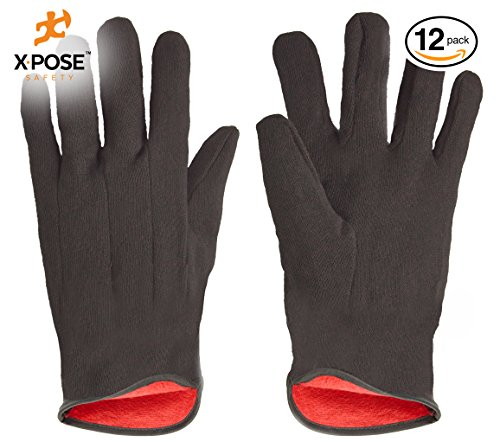 Protective Work Gloves - 12 Pack – For Industrial Labor, Home and Gardening – 100% 14oz Cotton, Red Fleece Lining - Men's Large - Brown – by Xpose Safety from Xpose Safety