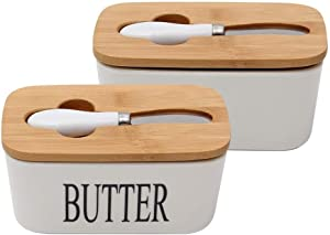 Butter Dishes Ceramic Butter Dish With Bamboo Lid, Butter Keeper Container With Butter Knife Food Storage Candy Box, White Ceramic Black Letter English Butter Dish Butter Boat (Color : C)