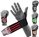 EMRAH HEAVY DUTY Wrist Wraps (PAIR) ''LIMITED DEAL''- Wrist Support Braces for Men & Women - Weight Lifting, Crossfit, Powerlifting, Strength Training (Black/Red)