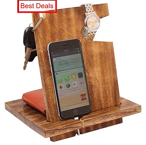 ARB Exports - Wooden Docking Station With Watch holder, Keys Holder and Valet Tray Desk Organizer For All Smartphones and Smart Watches