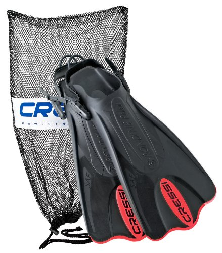 Cressi Palau Short Fins With Mesh Bag Snorkel Packages   Red  Size   Lgxlg