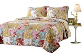 Web Linens Inc 2pc Prairie Multi Color Printed Patchwork Quilt Set Style # 1003 - Twin/Twin XL - Cherry Hill Collection