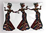 Ambesonne African Woman Pillow Sham, Young Women in Stylish Native Costumes Carnival Festival Theme Dance Moves, Decorative Standard Queen Size Printed Pillowcase, 30 X 20 inches, Multicolor