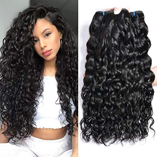 Ur Beautiful 8A Wet and Wavy Human Hair Weave Bundles Brazilian Water Wave Hair Bundles Curly Human Hair 3 Bundles 10 12 14 Inch Natural Black Color Total 300g (Best Hair Products For Brazilian Weave)