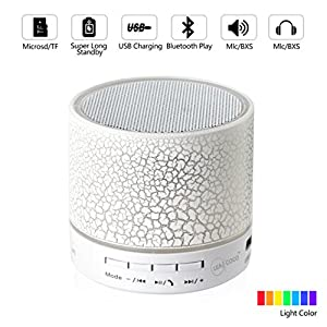 Leacoco Mini Wireless Portable Bluetooth Speaker With LED and Build-in Mic Support AUX TF for iPhone iPod and Android System Equipment Etc. (White)