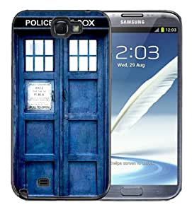 Samsung Galaxy Note 2 Black Rubber Silicone Case - Dr Who Tardis Police Call Box Phone Booth Blue WANGJING JINDA