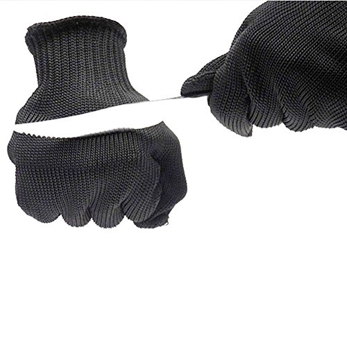 Mule Ringer (Cut Resistant Gloves Level 5 Stainless Steel Wire Mesh Protection Anti-cut Gloves Safety Work Gloves Anti-Slash Resistant Cut Cutting Slicing Grating Carving Protection Safety Gloves (Black))