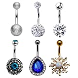 PiercingJ 6pcs 14G Stainless Steel Czech Crystal/Cubic Zirconia Ball Barbell Navel Belly Button Ring