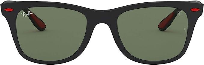 Amazon Com Ray Ban Rb4195m Scuderia Ferrari Collection Wayfarer Square Sunglasses Matte Black Green 52 Mm Shoes