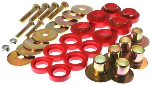 Energy Suspension 3.4142R Body Bushings - Energy Suspension Body Mount Bushings Body Mount Bushings - Polyurethane - Red - Chevy - Pontiac - Camaro - Chevy II - Nova - Firebird - Set of 12 (1969 Camaro Body)