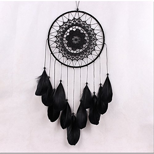 XY Fancy Wall Hanging Car Hanging Decor Gifts Dream Catcher Circle Net With Feathers Black