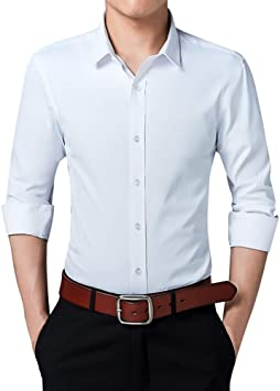 MUMU-001 Camisa de Vestir de Negocios sociales Hombre Slim Fit Color sólido Manga Larga Chemise Formal Turn Down Collar Button Elegante Camisas Homme: Amazon.es: Deportes y aire libre