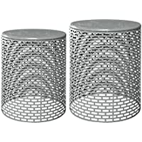 Jeco Naomi Grey Iron 2-piece End Table Set