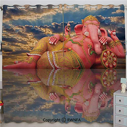 (Homenon Giant Chubby Statue of Asian Elephant Figure on Beach Thailand Sunset Sky Wisdom Printed Curtain Set of 2 Panels(84