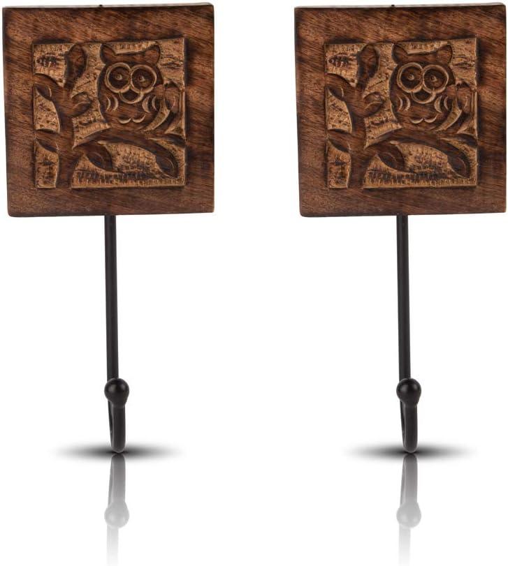 Juego de 2 perchas decorativas de madera y hierro fundido, estilo vintage, rústico, para colgar en la pared, chaqueta, bata, toalla, puerta perchero para pasillo, sala de estar, entrada, baño