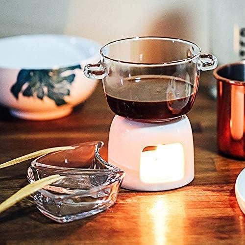 BuyBuyBuy Service à Fondue en Verre Blanc Céramique Borosilicate Porcelaine Photophore Bougie Fromage Beurre Chocolat à Fondue 700ML