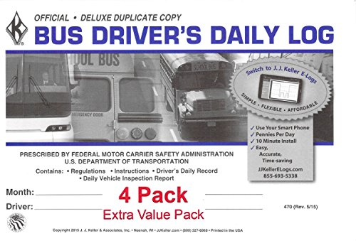 J.J. Keller 470 (9L) Bus Driver's Daily Log Book, 2-Ply, w/Carbon, w/Daily Recap and Detailed DVIR - Extra Value Pack of 4 (Bus Drivers Log Book)