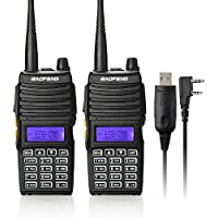 Baofeng 2PCS UV-5X Mate Handheld Two-way radio VHF136-174MHz UHF400-520MHz Dual Display Standby Transceiver Walkie Talkie with Tokmate Programming Cable