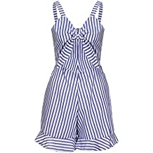 Bravetoshop Playsuits,Clearance Fashion Striped Adjustable Strap Rompers Sexy Bra Sleeveless Jumpsuits