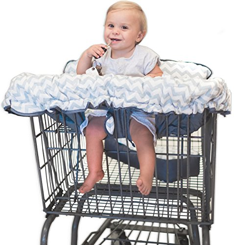 Baby High Chair Cushion (Premium 2-in-1 Cotton Shopping Cart Cover | High Chair Cover for Baby & Infant with Comfortable Pillow, Cell Phone Carrier, Teether, and Bonus Toy Straps - Summer Grocery Cart Cushion for Boy or Girl)