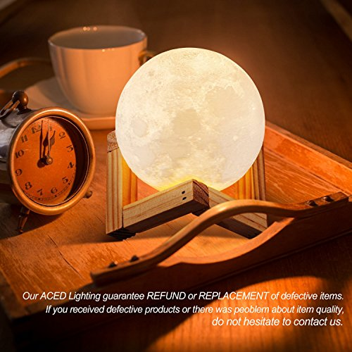 ACED 3D Printing 4.7Inch Moon Light Lamp Baby Night Light, Dimmable Color Changing, Touch Sensor Battery Operated LED Table Lamps Bedside for Bedrooms, Cool Christmas Gifts for Kids Teens by ACED (Image #1)